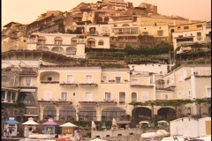 Houses cling to a hillside in Positano, Sicily. Stock Footage