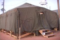 Medium shot of a FEMA refugee tent. Stock Footage