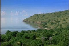 Lush vegetation adorns an Indonesian island. - stock footage