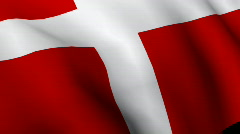 Danish Flag in 3d Stock Footage