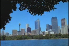 The skyline of downtown Sydney Australia is set back from Sydney Harbor. Stock Footage