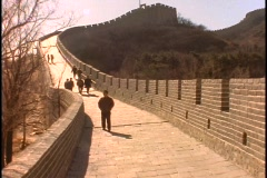 Sightseers walk along the Great Wall Of China. Stock Footage