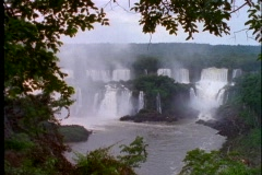 Water crashes over the Iguacu Falls in Argentina. Stock Footage