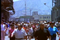 Pedestrians crowd the downtown area of Lima, Peru. Stock Footage