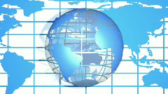 Blue World Globe with Map HD1080 Loopable Stock Footage