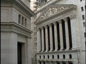 Beautiful architecture adorns the outside of the New York Stock Exchange Stock Footage