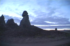 Pinnacles made of limestone are near Trona, California. Stock Footage