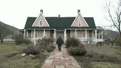 Pioneer Mansion home man walking M HD Stock Footage