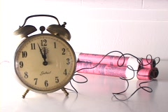 A close-up of a homemade time bomb. Stock Footage