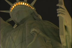 Upward close-up of the Statue of Liberty in front of the New York, New York - stock footage
