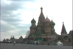 St. Basil's Basilica occupies Red Square in Moscow, Russia. Stock Footage