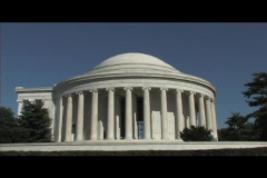 Long-shot of the Jefferson Memorial in Washington DC Stock Footage