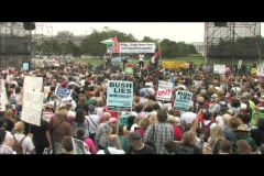 Medium-shot of Iraq war protesters gathering outside the capital. Stock Footage