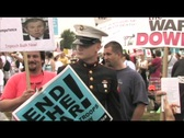 Stock Video Footage of Medium-shot of Iraq war protesters gathering outside the capital.