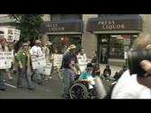 Stock Video Footage of Medium-shot of a 20-something, Iraq-War supporter shouting in Washington DC