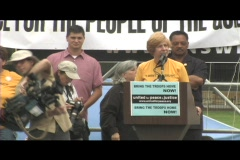 Medium-shot of Cindy Sheehan speaking at an anti-Iraq-war rally in Washington, Stock Footage