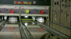 Playing ten pin bowling 2 - stock footage