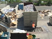 Stock Video Footage of Workers unload aluminum cans at a recycling center.