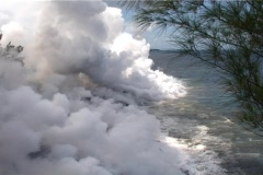 Lava flows from a volcano into the sea at Reunion Island, Stock Footage
