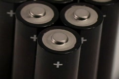 A close up of the contact points on small batteries. Stock Footage