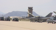 Prepping and getting ready F-15 on the tarmac Stock Footage
