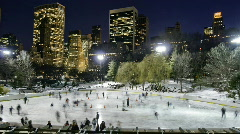 NYC Ice skating - Wollman Rink Stock Footage