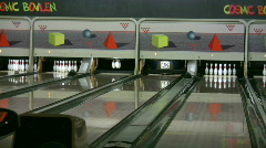 Playing ten pin bowling 1 - stock footage
