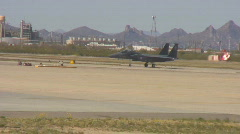 AIr Force - F15 Eagle - taxi on runway Stock Footage