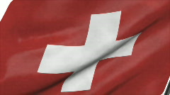 Flag of Swizerland with alpha channel Stock Footage