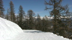 Skiing in the french alps handheld shot Stock Footage