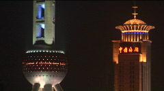 Two of Shanghai's landmark buildings Stock Footage