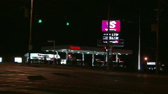 Gas Station at Night Stock Footage