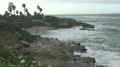 Rocky Pacific Ocean Coastline in San Diego Stock Footage
