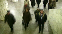 Motion blur walking crowd. Subway. Time lapse. - stock footage