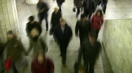 Stock Video Footage of Motion blur walking crowd. Subway. Time lapse.