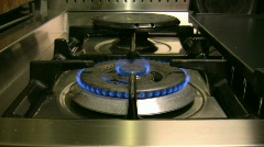 Burning stove in the kitchen 2 Stock Footage