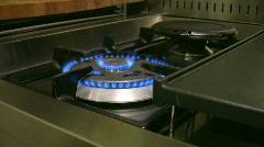 Burning stove in the kitchen 4 Stock Footage