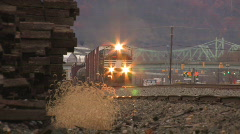 Freight Train Approaches HD Stock Footage