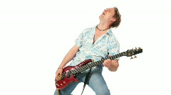 Crazy guitarist jump play stand. Many pictures. Stock Footage