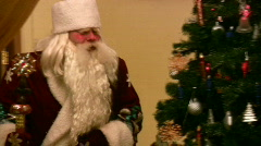 entering Ded Moroz and christmas tree - stock footage