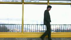 Thinking walking businessman Stock Footage