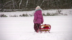 Little girl with Santa on sled Stock Footage