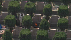 Cemetry from above - stock footage