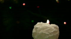 Flame of white candle blazes - stock footage