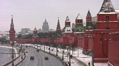 Kremlin wall and towers in Moscow - stock footage