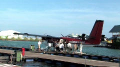 Seaplane loading for Maldives Islands Stock Footage