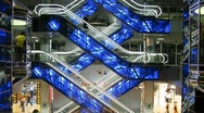 Stock Video Footage of escalators and elevators time lapse changing colors