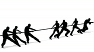Tug-of-war people silhouette Stock Footage