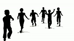 running children silhouette - stock footage