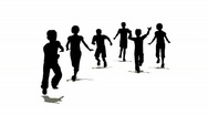 Running children silhouette Stock Footage